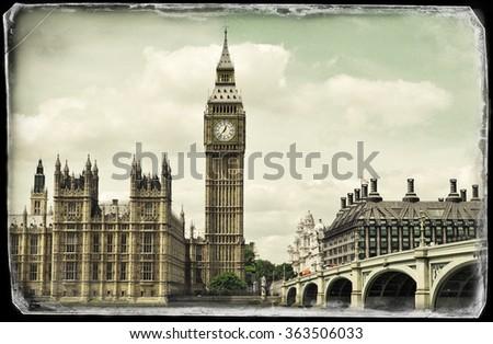 Vintage picture of Big Ben - stock photo