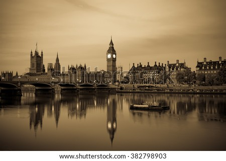 Vintage picture of London Big Ben and House of Parliament viewed at sunrise in London. England - stock photo