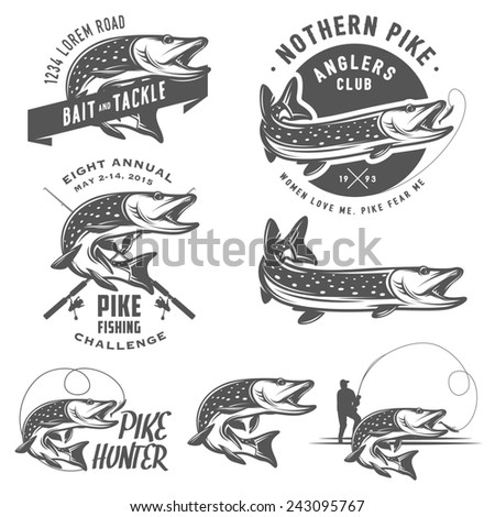 Vintage pike fishing emblems, labels and design elements - stock photo