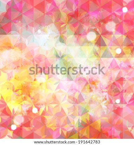 Vintage pink defocused background with geometric triangular ornament. Raster version - stock photo
