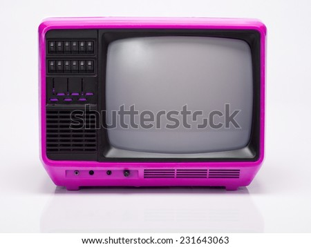 Vintage Pink TV isolated on White Background. Front View with Real Shadow. Copy Space for Text or Image - stock photo