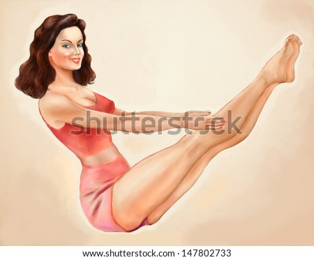Vintage pinup fitness woman doing aerobics. Illustration. - stock photo
