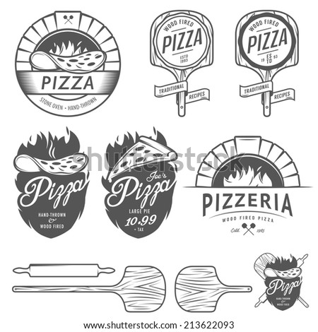 Vintage pizzeria labels, badges and design elements - stock photo