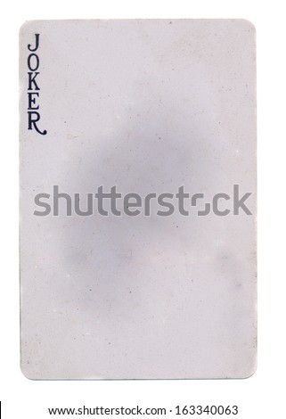 vintage playing card joker paper background - isolated on white - stock photo