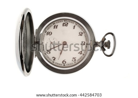 Vintage pocket watch isolated on a white background with an open lid. - stock photo