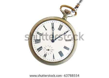 Vintage pocket watch isolated on white - stock photo