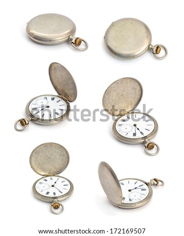 Vintage pocket watch. Isolated set on white background. - stock photo