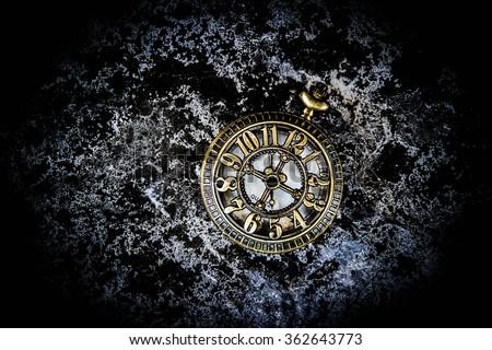 Vintage pocket watch on grunge background,Time concept - stock photo