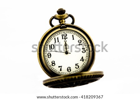 Vintage pocket watch on white background,Time concept - stock photo