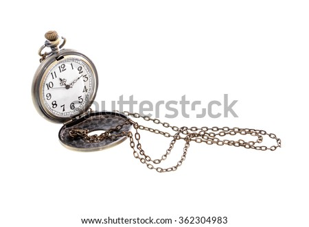 Vintage pocket watch with long chain on white background - stock photo