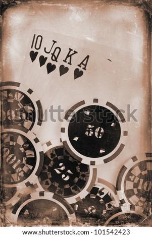 vintage poker concept - stock photo
