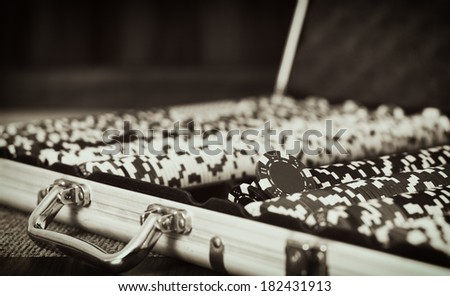 Vintage poker / Vintage style photo from a poker table - stock photo