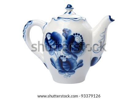 Vintage porcelain teapot painted in gzhel, isolated on a white background. Clipped path included - stock photo
