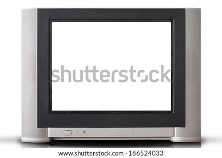 vintage portable television isolated with white screen. - stock photo