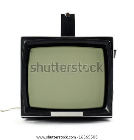 Vintage portable Television set isolated on white background - stock photo