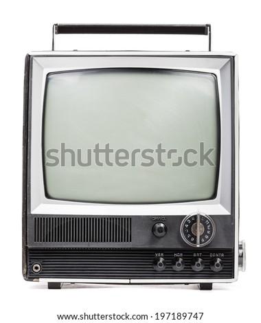 Vintage portable TV set on white background - stock photo