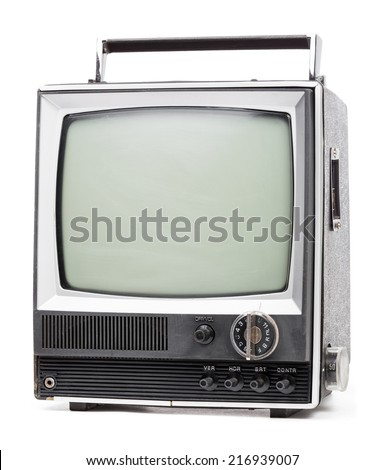 Vintage portable TV set with handle on white background - stock photo