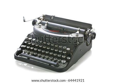 Vintage portable typewriter on white. - stock photo
