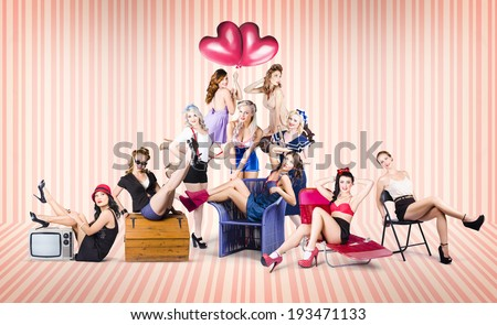 Vintage portrait of a group of 10 beautiful pinup girls from the 1950s posing in various dresses, outfits and shoes in a depiction of retro fashion accessories - stock photo