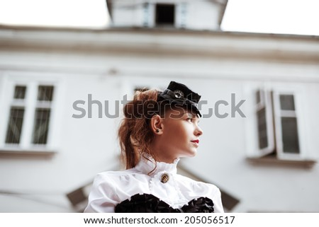 Vintage portrait of beautiful victorian girl - stock photo