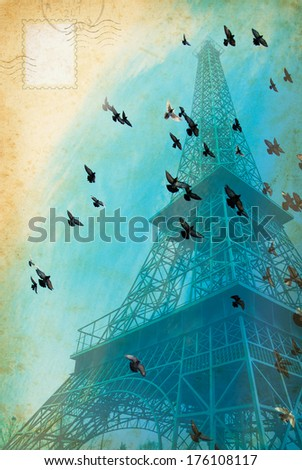 Vintage Post Card from tour in Paris. Romantic trip in France - concept design with Eiffel Tower and flock of doves on blue sky. Vintage picture of Tour Eiffel - aged postcard from travel in Paris. - stock photo