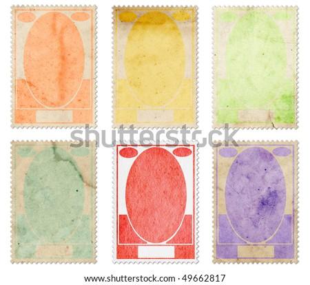 Vintage post stamps set - stock photo