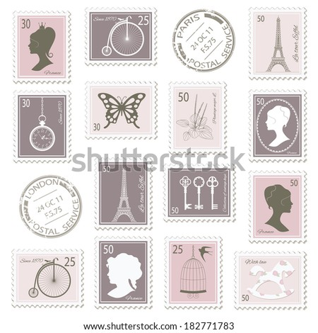 Vintage postage stamps set on stripped grunge paper. Can be used for scrapbook, invitation cards, collage design. Raster copy. - stock photo