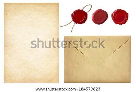 vintage postal set: old mail envelope, blank letter paper and red wax seal stamps isolated on white - stock photo