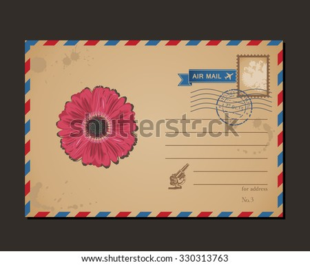 Vintage postcard and postage stamps. Design flower envelope pattern and letters - stock photo
