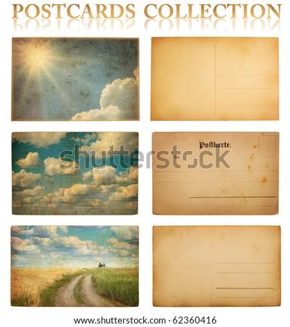 vintage postcard collection - stock photo