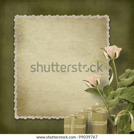 Vintage postcard for congratulation with roses and gifts - stock photo