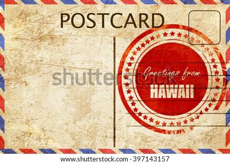 Vintage postcard Greetings from hawaii - stock photo