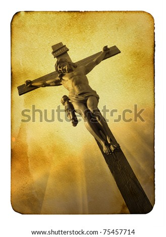 Vintage postcard (imitation) with Calvary close-up - stock photo