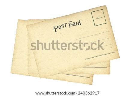 vintage postcard isolate on white background - stock photo