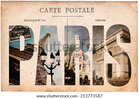 Vintage postcard, letters PARIS - stock photo