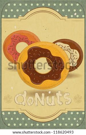 Vintage postcard, vertical cover menu - donuts on vintage background - JPEG version - stock photo