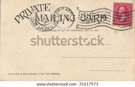 vintage postcard with a stamp - stock photo