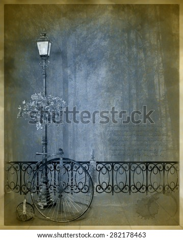 vintage postcard with a streetlamp and old bicycle - stock photo