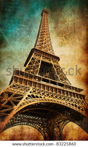 Vintage postcard with Eiffel tower, Paris, France - stock photo