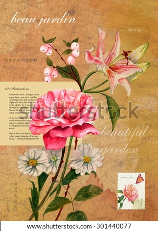 Vintage postcard with watercolour drawing of bouquet of flowers on textured background, with text about painting this bouquet, latin flower names, postage stamp and words 'beautiful garden' in French - stock photo