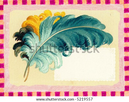 Vintage poster: feather frame. Grainy and rough painting - stock photo