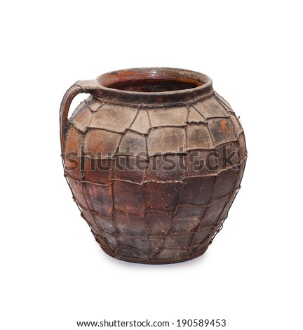 Vintage Pottery crock isolated over a white background  - stock photo