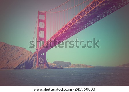 Vintage processed image of San Francisco's Iconic Golden Gate Bridge - stock photo