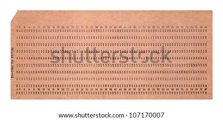 vintage punched card isolated on white background, retro technology details - stock photo