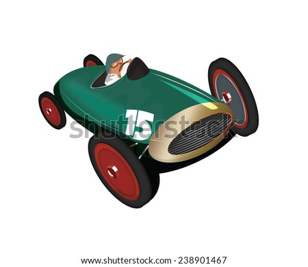vintage racing car. A classic racing car with shiny metal body and driver in the seat. this motor racing car is british racing green in color - stock photo