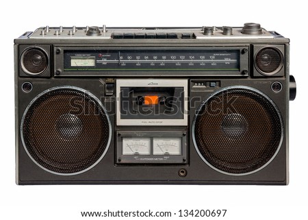 Vintage radio cassette recorder, isolated on white - stock photo