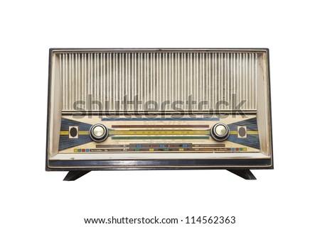 Vintage radio isolated on a white background - stock photo