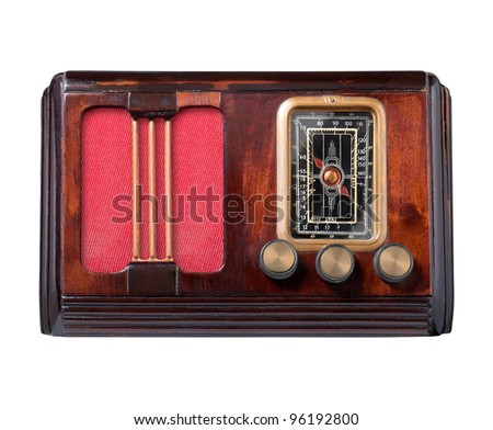 Vintage radio isolated on white, clipping path. - stock photo