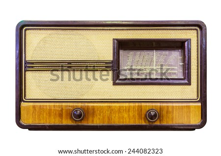 vintage radio isolated with clipping path - stock photo