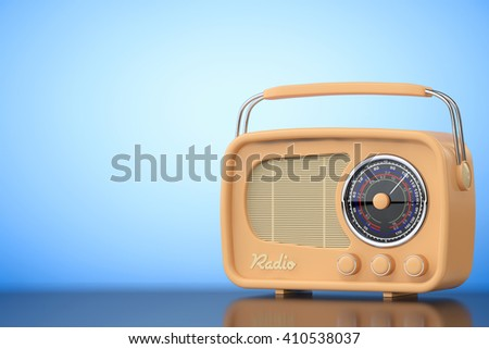 Vintage Radio on a blue background. 3d Rendering - stock photo